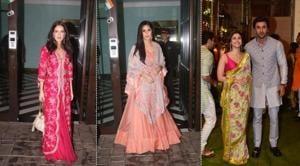 Isabelle Kaif, Katrina Kaif, Ranbir Kapoor and Alia Bhatt attended Mukesh Ambani's Ganesh Chaturthi celebrations on Monday.(Varinder Chawla)