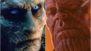 The Night King and Thanos in stills from Game of Thrones and Avengers.
