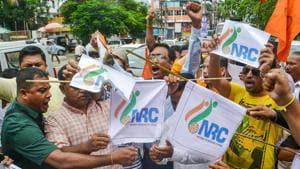 Activists of the Hindu Yuva Chattra Parishad burn copies of NRC list, Guwahati, August 31, 2019(PTI)