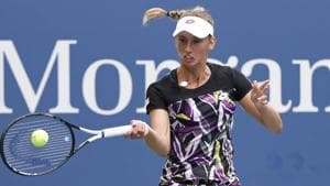 Elise Mertens of Belgium hits a forehand against Kristie Ahn of the United States.(USA TODAY Sports)