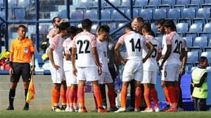 Igor Stimac, head coach of India, gives instruction to his team during an international friendly match between Curacao and India.(Getty Images)