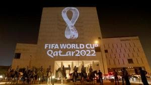 The tournament's official logo for the 2022 Qatar World Cup is seen on a building at Souq Waqif in Doha, Qatar, September 3, 2019.(REUTERS)