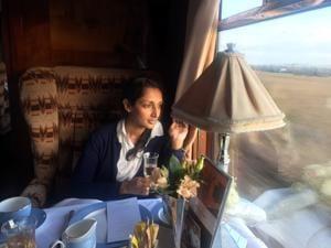 Author Monisha Rajesh on the Belmond British Pullman.(Courtesy the publisher)