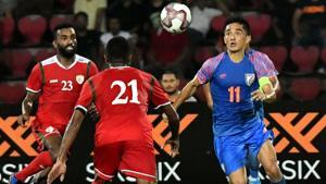 Indian football team captain Sunil Chhetri vies for the ball.(PTI)
