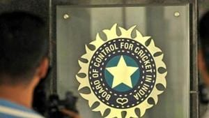 MUMBAI, INDIA JULY 19: A view of logo of the Board of Control for Cricket in India (BCCI) during a Council meeting of the Indian Premier League (IPL) at BCCI headquarters on July 19, 2015 in Mumbai, India.(Hindustan Times via Getty Images)