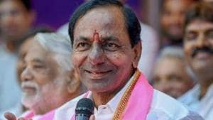 Telangana chief minister K Chandrashekar Rao (KCR) has had his images and his party's symbol carved on one of the pillars of the Yadadri Temple.(PTI PHOTO.)
