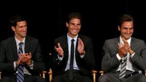 Novak Djokovic, Rafael Nadal and Roger Federer on stage during the ATP Heritage Celebration at The Waldorf, Astoria.(Getty Images)