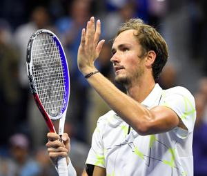 Daniil Medvedev of Russia celebrates match point against Grigor Dimitrov of Bulgaria in a semifinal match on day twelve of the 2019 U.S. Open tennis tournament at USTA Billie Jean King National Tennis Center.(USA TODAY Sports)