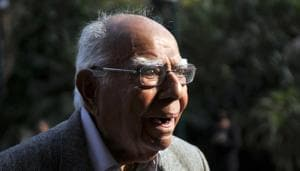Ram Jethmalani breathed his last at 7.45 am on Sunday at his official residence in New Delhi.(Vipin Kumar/HT File Photo)