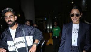 Virat Kohli and Anushka Sharma at the Mumbai airport.(Varinder Chawla)