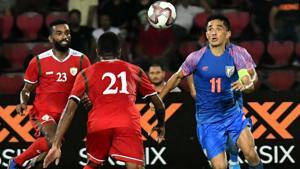 Indian football captain Sunil Chhetri vies for the ball.(PTI)