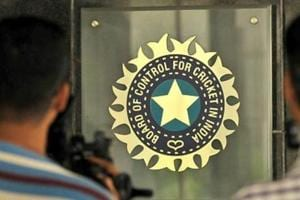 A view of logo of the Board of Control for Cricket in India (BCCI) during a Council meeting of the Indian Premier League (IPL) at BCCI headquarters(Hindustan Times via Getty Images)