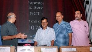 New Delhi: Delhi chief minister Arvind Kejriwal with Dy CM Manish Sisodia and other ministers at the launch of the scheme for doorstep delivery of public services, in New Delhi, Monday, Sept 10, 2018. (PTI Photo) (PTI9_10_2018_000303B)(PTI)