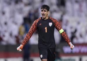 2022 World Cup Qualifier Round 2 - Group E - Qatar v India - Jassim Bin Hamad Stadium, Doha, Qatar - September 10, 2019 India's Gurpreet Singh Sandhu reacts REUTERS/Ibraheem Al Omari(REUTERS)