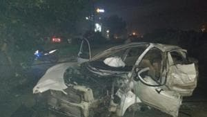 The mangled remains of the Maruti Swift Dzire car that overturned near Sherpur Chowk on Wednesday(HT PHOTO)