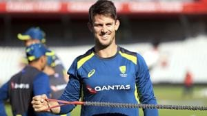 Australia's Mitchell Marsh takes part in a nets session.(AP)