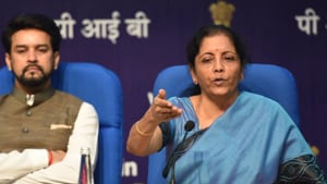 As Nirmala Sitharaman responded to a barrage of questions on the stimulus that could cost the exchequer Rs 80,000 crore, there was one question that asked Sitharaman how she would describe the current state of the economy.(raj K Raj/ HT Photo)