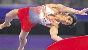 Ashish Kumar of India competes in the Vault during the Men's All-Around Final.(Getty Images)
