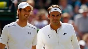 File photo of Andy Murray of Great Britain and Roger Federer of Switzerland at 2015 Wimbledon.(Getty Images)