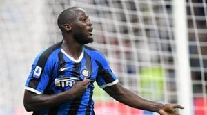 Inter Milan's Romelu Lukaku celebrates scoring their third goal.(REUTERS)