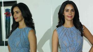 Mallika Sherawat poses during a press conference.