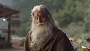 Amitabh Bachchan in a still from the Sye Raa Narasimha Reddy trailer.