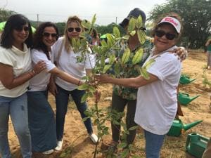 Participants from Delhi-NCR joined for a plantation drive, organised by Black Lotus Peace Foundation and I am Gurgaon.