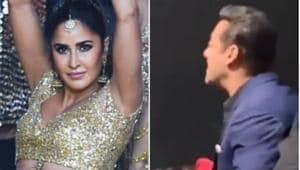 Salman Khan cheers for Katrina Kaif at IIFA 2019.