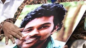 File photo of Rohith Vemula's mother Radhika at a protest in New Delhi.(HT File Photo)
