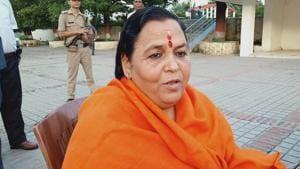 Former Ganga rejuvenation minister Uma Bharti in Haridwar. She is seeking permission for a foot march from Gangotri to Ganga Sagar in West Bengal(HT Photo)