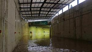 On August 14, the Rajiv Chowk underpass near Medanta Hospital was closed for five hours after heavy rain lashed the city.(Yogendra Kumar/HT file)