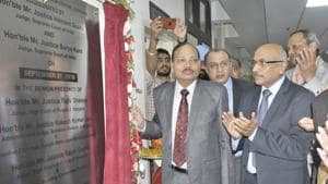 Justice Suryakant and Justice Hemant Gupta inaugurating the new building at the Ludhiana district courts on Saturday.(Gurminder Singh/)