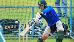 South African player Rassie van der Dussen bats during a practice session(PTI)