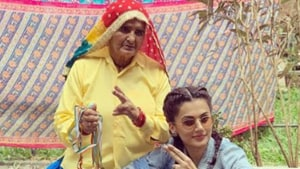 Prakashi Tomar with Taapsee Pannu who plays her in Saand Ki Aankh.