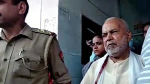 BJP leader Swami Chinmayanand arrested in Shahjahanpur on Friday, in connection with the alleged sexual harassment of a UP law student.(Photo: ANI)