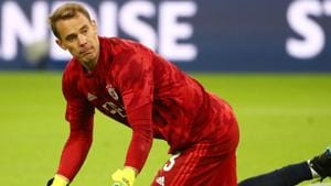 Bayern Munich's Manuel Neuer during the warm up before the match.(REUTERS)