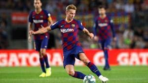 Barcelona's Frenkie de Jong in action(REUTERS)