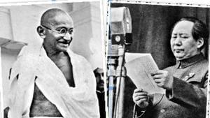 Gandhi, 1940s; Revolutionary Chinese leader Mao Tse-Tung, 1949(national gandhi museum)