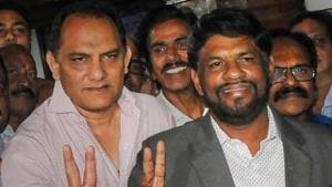 Former Team India captain Mohammad Azharuddin after being elected as the president of the Hyderabad Cricket Association in Hyderabad on Friday.(PTI PHOTO.)
