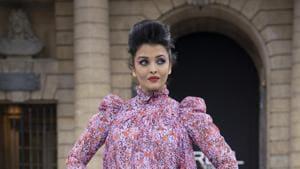Aishwarya Rai poses at Paris Fashion Week.
