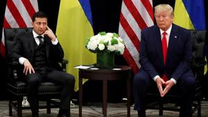 Ukraine's President Volodymyr Zelenskiy listens during a bilateral meeting with U.S. President Donald Trump on the sidelines of the United Nations General Assembly in New York City.(REUTERS)