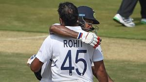 Visakhapatnam: India's Rohit Sharma being greeted by partner Mayank Agarwal as he celebrates his century(PTI)