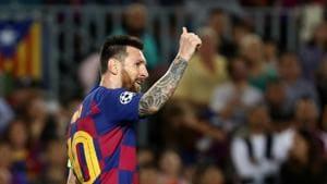 Soccer Football - Champions League - Group F - FC Barcelona v Inter Milan - Camp Nou, Barcelona, Spain - October 2, 2019 Barcelona's Lionel Messi gestures REUTERS/Sergio Perez(REUTERS)