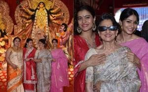 Kajol with mother Tanuja and sister Tanishaa Mukerji at a Durga Puja pandal in Juhu.(Varinder Chawla)