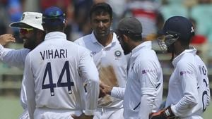 Indian bowler Ravichandran Ashwin, centre, celebrates with team members after dismissing South Africa's captain Faf du Plessis.(AP)