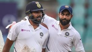 Visakhapatnam: India's Rohit Sharma reacts as teammate Ravindra Jadeja walks with him, after he was stumped by South Africa's Quinton de Kock.(PTI)