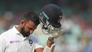 India's Cheteshwar Pujara leaves after being dismissed by South Africa's Vernon Philander during the fourth day of the first cricket test match against South Africa in Visakhapatnam.(AP)