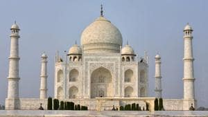 A deserted view of Taj Mahal in Agra on Monday ahead of visit by Belgian Royal couple King Philippe and Queen Mathilde. PTI Photo by Kamal Kishore(PTI)
