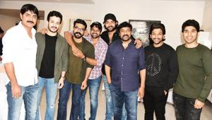 Chiranjeevi with son Ram Charan and nephews Allu Arjun and Varun Tej. Also seen in the picture is Nagarjuna's younger son Akhil.