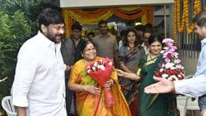 Chiranjeevi launches new film with Koratala Siva in presence of son Ram Charan, mother Anjana Devi. See pics